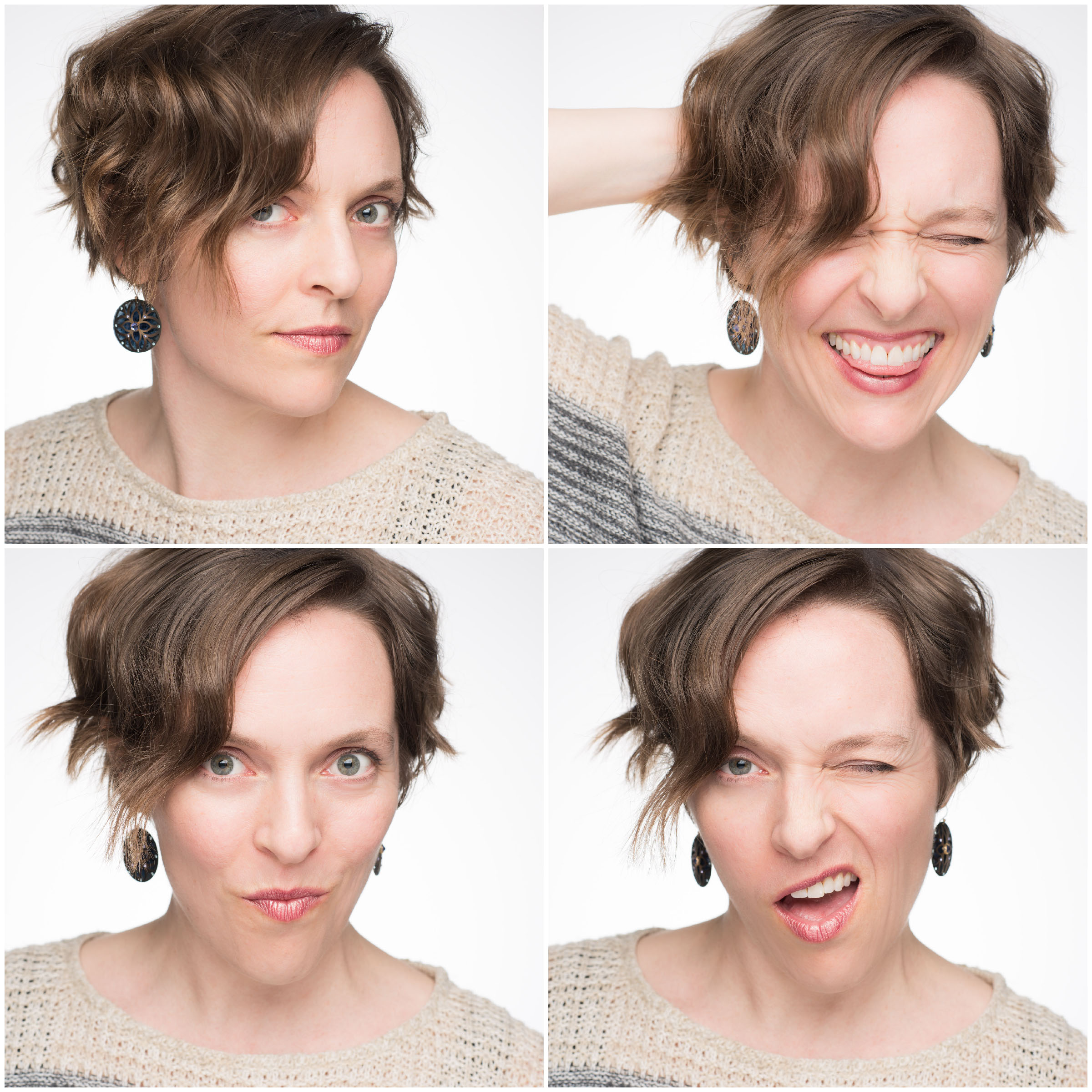 Woman posing for four sassy headshots.